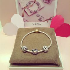 PANDORA Bracelet with Pretty Openwork Two Tone Heart and Pink Enamel Heart Charms.