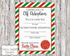 elf adoption certificate or elf welcome letter printable instant download