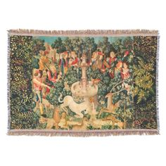 UNICORN IS FOUND / Fountain and Other Animals Throw Blanket#homedecor #garden #tapestry #antique #art #horses #birds