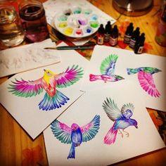 Watercolor birds illustration by @marinabarbato