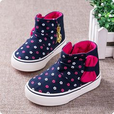 Baby girl shoes girls high shoes cute bow non - slip soft bottom 2017 spring  children canvas shoes girls fashion baby shoes