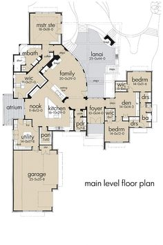 Contemporary Style House Plan - 3 Beds 3.5 Baths 4264 Sq/Ft Plan #120-188 Main Floor Plan - Houseplans.com