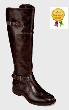 10058aaf7e9b Yuu Rocio Womens Double Buckle Riding Boots Man Made size 6 NEW https
