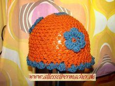 Häkelmütze Hippie, Blumen, gehälkelt, orange blau, Einzelstück, Unikat