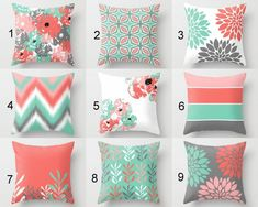 Pillow Covers, Throw Pillow Covers, Lucite Green Coral Grey Blush White, Spring Pillow Covers Mix and Match! Decorative Pillows - Decor Home Coral Living Rooms, Living Room Decor Colors, Bedroom Colors, Grey Coral Bedroom, Diy Pillow Covers, Pillow Cover Design, Decorative Pillow Covers, Coral Throw Pillows, Toss Pillows
