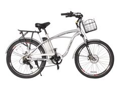 """The Kona Lithium Battery powered Beach Cruiser Electric Bike cranks out 350 watts from the rear hub motor. Featuring a lightweight lithium LiFePo4 36 volt 10Ah battery pack, providing a considerable amount of power. The 100% hand welded lightweight aluminum frame has a 7-Speed Shimano and oversized 26"""" Balloon Cruiser Tires, aluminum rims with quick release axle on the front and a water proof quick disconnect on the rear. The Kona comes equipped with our Smart Power Assist System (SPAS). E-"""