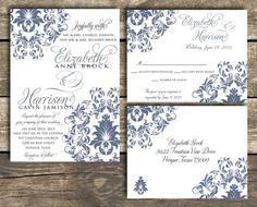 PRINTABLE Wedding Invitation Suite DIY - Blue Damask Wedding Collection  (Colors and Wording Can Be Customized)