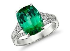October Birthstone Engagement Ring:  Green Tourmaline And Micropave Diamond Engagement Ring From Blue Nile, $6,500