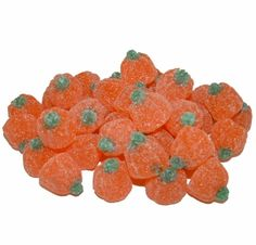 Orange flavored gummies shaped like pumpkins and covered in sugar. Candied Pecans, Fall Treats, Candy Store, Pumpkins, Dog Food Recipes, Jelly, Unique Gifts, Fancy, Shapes