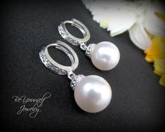 Pearl Bridal Earrings Swarovski Ivory or Cream Pearls Cubic Zirconia Sterling Silver Leverback Wedding Jewelry Bridesmaid Gift Pearl Jewelry