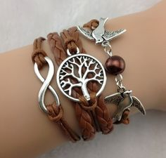 handmade wish tree brown leather bangle with two birds