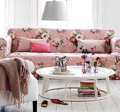 subtle floral sofa