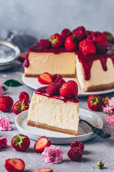 New York Cheesecake Recipe. Easy Vegan Cheesecake with homemade raspberry strawberry sauce. Dairy-free, egg-free, gluten-free.