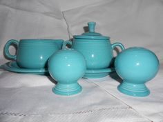Vintage Fiesta Ware Turquoise Set - Cream and Sugar with tray, Salt and Pepper Shakers