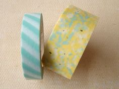 Washi Tape  Double Roll  Mint Stripes and Yellow by HazalsBazaar, $5.00