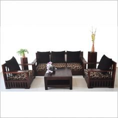 Wooden sofa with strong legs and back support for that extra durability Made in assorted Sheesham wood with best in class polishing It`s heavy look just completes the living room Set of 3 sofa Dimensions: 3 Seater x x 80 H Cm Living Room Furniture Online, Furniture Sofa Set, Sofa Chair, Furniture Design, Metal Sofa, Wood Sofa, Sheesham Wood Furniture, Wooden Furniture, Sofa Makeover