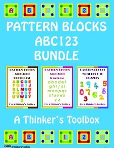 Pattern Blocks ABC123 Bundle by A Thinker's Toolbox. This is a bundled product which includes three of my pattern block products; Pattern Blocks Alphabet UPPERCASE, Pattern Blocks Alphabet lowercase and my Pattern Blocks Numbers (0-10) Puzzles. These Pattern Blocks Puzzles are a fun way for your students to explore their alphabet and numbers.