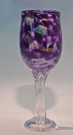 Wedding Goblet, Glass Goblet, Hand Blown Wine Glass, Champagne Flutes