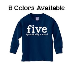 Toddler 5th Birthday Shirt Long Sleeve SOFT  5 Shirt Choices