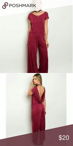Wine Jumpsuit Short cap sleeve mineral wash jumpsuit. The fabric content is 95% rayon/5% spandex. I have them in sizes s,m,l. They come from a pet free/ smoke free home. Check out my closet for other rompers & jumpsuits + more added soon. Pants Jumpsuits & Rompers
