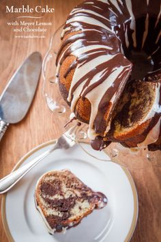 Marble Cake , with Meyer Lemon and Chocolate and a Major Announcement! by Eat the Love. This easy marble cake recipe is one of the best ever. I should know. I'm about to write a book on the subject of marbled, swirled and layered desserts.