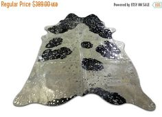 ON SALE Silver Metallic Cowhide Rug acid washed on Black and