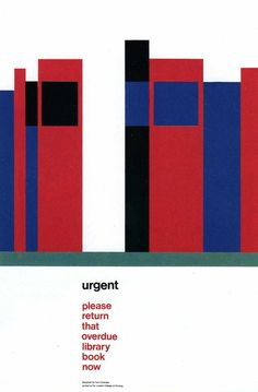 Bad color, genius use of negative space. Library Reminder Card London College of Printing - Tom Eckersley.