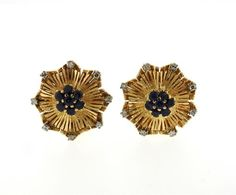 Mid Century 18K Gold Sapphire Diamond Earrings Featured in our upcoming auction on September 13!