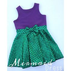 Ariel Mermaid Inspired Disney Dress! Perfect for mermaid birthday party or Disney bounding! Girls, child, baby, toddler, Disney Princess, Under the Sea