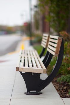 Pacifica Benches shown in 8 foot, short back, surface mount configuration with Black Texture powdercoated frame, FSC Ipé hardwood slats Outdoor Furniture Plans, Urban Furniture, Street Furniture, Metal Furniture, Industrial Furniture, Garden Furniture, Furniture Decor, Flip Flop Art, Outdoor Planters