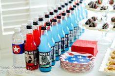 See water bottle for simple label that would work great for a superhero party (Paisley Petal Events election day drinks) Election Night Party, Election Day, 2016 Election, Sailor Party, Patriotic Party, Patriotic Crafts, Blue Party, Fundraising Events, Party Treats