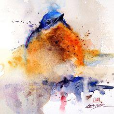 BABY BLUEBIRD Watercolor Print by Dean Crouser by DeanCrouserArt