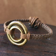 Macrame Bracelet with Antique African Bronze and Brass Double Ring