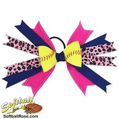 Handmade Softball Hair Bow made from real softball leather Ribbon Colors, Blue Ribbon, Softball Hair Bows, Softball Hairstyles, Different Font Styles, Pink Cheetah, Making Hair Bows, Little Girl Hairstyles, How To Make Bows