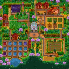 My current layout of the new Four Corners map, which has quickly become my favorite map! Still working towards the more expensive buildings and such but out of all my farms this is the one I'm the most proud of. Stardew Farms, Stardew Valley Farms, Stardew Valley Tips, Stardew Valley Layout, Farm Layout, Animal Crossing Villagers, Four Corners, My Favorite Things, Green House Design