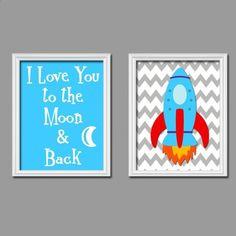 I Love You To The Moon  Back Space Rocket Chevron Pattern Print Artwork Set of 2 Prints 8x10 Wall Decor Art Boy Nursery Picture. $23.00, via Etsy.