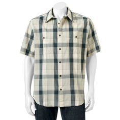 Men's Woolrich Tall Pine Classic-Fit Plaid Ripstop Button-Down Shirt, Size: Small, Blue Other