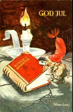 """Julekort Kjell Aukrust. Nisse leser eventyrbok. Signert Aukrust. """"God Jul"""". Utg Oppi. Brukt 1949 Christmas Images, Christmas Art, Simple Christmas, Vintage Christmas, Christmas Postcards, Norwegian Christmas, Scandinavian Christmas, Vintage Cards, Vintage Postcards"""