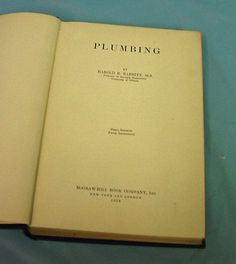 1928 Plumbing Harold Babbitt First Ed Cloth Book Vintage House Research Business