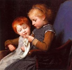 Albert Samuel Anker (1831 – 1910) Swiss The Little Knitters