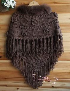 Poncho Cape, Poncho Shawl, Knitted Poncho, Crochet Shawl, Knit Crochet, Poncho Knitting Patterns, Mittens Pattern, Loom Knitting, Knitting Stitches