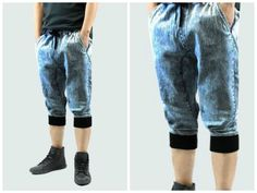 Details about Denim Joggers Shorts Men Long style Drop Crotch band ...