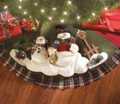 Snowman Christmas Tree Skirt with Green Background  http://barnaclebill.hubpages.com/hub/snowmantreeskirt