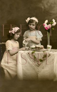Edwardian Photos | DIGITAL Scan French Postcard Edwardian Girls TEA PARTY invitation