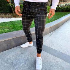 Solid Plaid Drawstring Side Pocket Tapered Pants – maxgonia Plaid Pants Outfit, Casual Pants, Men Casual, Casual Outfits, Skinny Chinos, Skinny Pants, Estilo Street, Shorts, Lightin The Box
