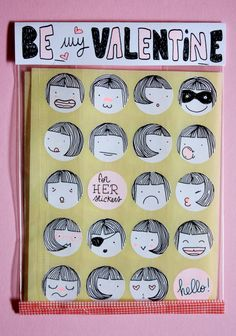 """be my valentine"" (handmade stickers for her and for him)"