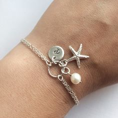 Personalized Starfish Bracelet in Sterling Silver by JewelleryByZM