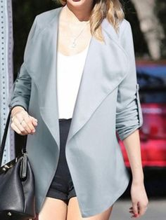 Shop Blue Gray Lapel Roll Up Sleeve Open Front Coat from choies.com