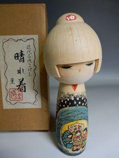 "Japanese Sosaku Kokeshi Wooden Warmful Hand painting Artist Kaoru Seal 16cm 6.3"""