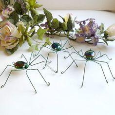 Three Medium Handmade Green Spiders Perfect by SpiderwoodHollow